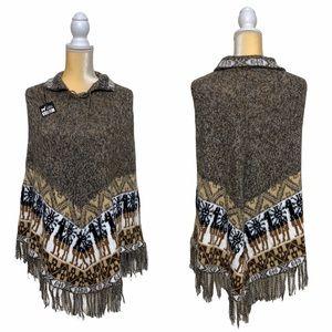 Handmade Artesanias Azteca Poncho Alpaca Wool